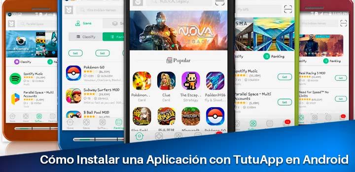 instalación de una app con tutuapp en android